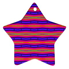 Bright Pink Purple Lines Stripes Star Ornament (Two Sides)