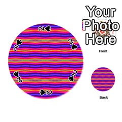 Bright Pink Purple Lines Stripes Playing Cards 54 (Round)
