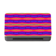 Bright Pink Purple Lines Stripes Memory Card Reader with CF