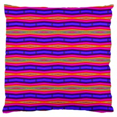 Bright Pink Purple Lines Stripes Large Flano Cushion Case (One Side)