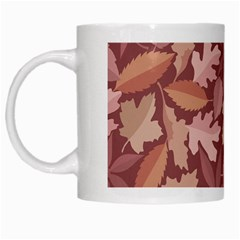 Marsala Leaves Pattern White Mugs