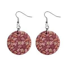 Marsala Leaves Pattern Mini Button Earrings