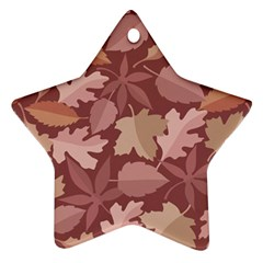 Marsala Leaves Pattern Star Ornament (Two Sides)