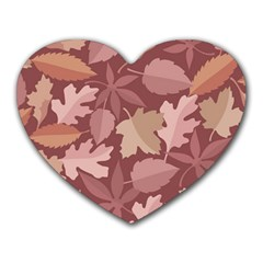 Marsala Leaves Pattern Heart Mousepads