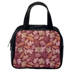 Marsala Leaves Pattern Classic Handbags (One Side)