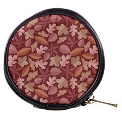 Marsala Leaves Pattern Mini Makeup Bags