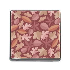 Marsala Leaves Pattern Memory Card Reader (Square)