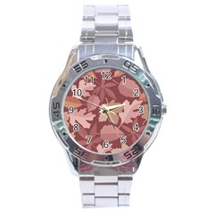 Marsala Leaves Pattern Stainless Steel Analogue Watch