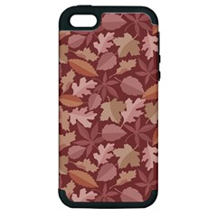 Marsala Leaves Pattern Apple iPhone 5 Hardshell Case (PC+Silicone)