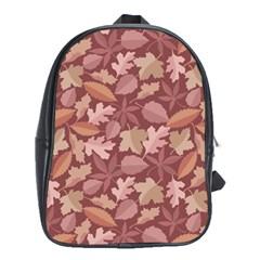 Marsala Leaves Pattern School Bags (XL)
