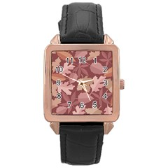Marsala Leaves Pattern Rose Gold Leather Watch
