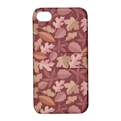 Marsala Leaves Pattern Apple iPhone 4/4S Hardshell Case with Stand