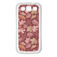 Marsala Leaves Pattern Samsung Galaxy S3 Back Case (White)
