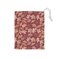Marsala Leaves Pattern Drawstring Pouches (Medium)