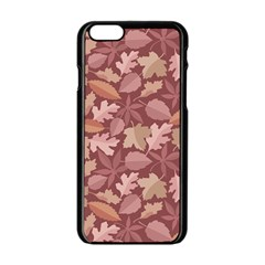 Marsala Leaves Pattern Apple iPhone 6/6S Black Enamel Case