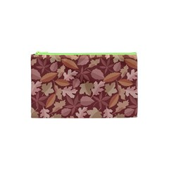 Marsala Leaves Pattern Cosmetic Bag (XS)