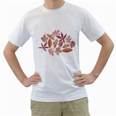 Marsala Leaves Pattern Men s T-Shirt (White)