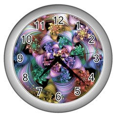 Bright Taffy Spiral Wall Clocks (silver)