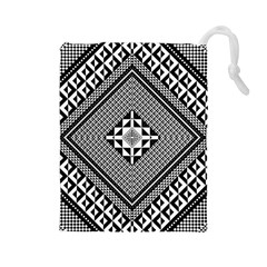 Geometric Pattern Vector Illustration Myxk9m   Drawstring Pouches (Large)