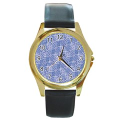 Modern Abstract Geometric Round Gold Metal Watch