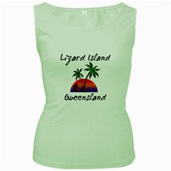Lizard Island Queensland  Women s Green Tank Top