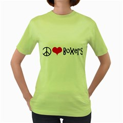 Peace Love And Boxers Women s Green T-Shirt