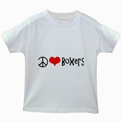 Peace Love And Boxers Kids White T-Shirts