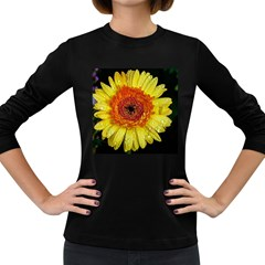 Yellow Flower Close up Women s Long Sleeve Dark T-Shirts