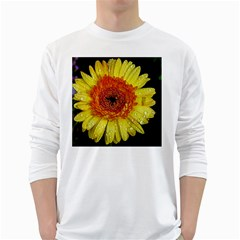 Yellow Flower Close up White Long Sleeve T-Shirts