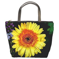 Yellow Flower Close up Bucket Bags