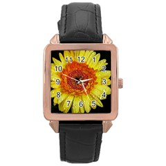 Yellow Flower Close up Rose Gold Leather Watch