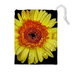 Yellow Flower Close Up Drawstring Pouches (extra Large)