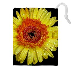 Yellow Flower Close up Drawstring Pouches (XXL)