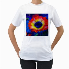 Tie Dye Flower Women s T-Shirt (White) (Two Sided)