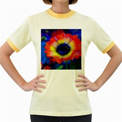 Tie Dye Flower Women s Fitted Ringer T-Shirts