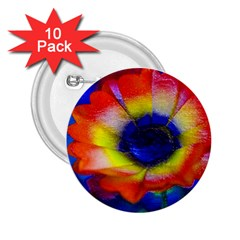 Tie Dye Flower 2.25  Buttons (10 pack)