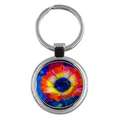 Tie Dye Flower Key Chains (Round)