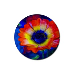 Tie Dye Flower Rubber Round Coaster (4 pack)