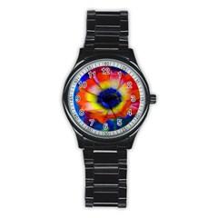 Tie Dye Flower Stainless Steel Round Watch