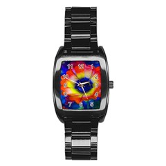 Tie Dye Flower Stainless Steel Barrel Watch