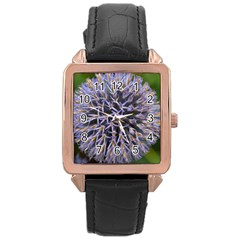 Globe Mallow Flower Rose Gold Leather Watch
