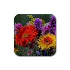 Colorful Flowers Rubber Square Coaster (4 pack)
