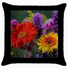 Colorful Flowers Throw Pillow Case (Black)