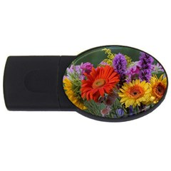 Colorful Flowers USB Flash Drive Oval (4 GB)