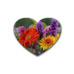 Colorful Flowers Heart Coaster (4 pack)