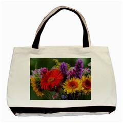 Colorful Flowers Basic Tote Bag (Two Sides)