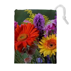 Colorful Flowers Drawstring Pouches (extra Large)