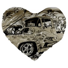 Old Ford Pick Up Truck  Large 19  Premium Heart Shape Cushions