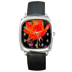 Red Beauty Square Metal Watch