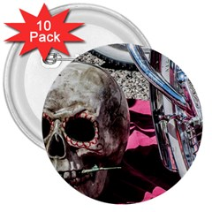 Skull and Bike 3  Buttons (10 pack)